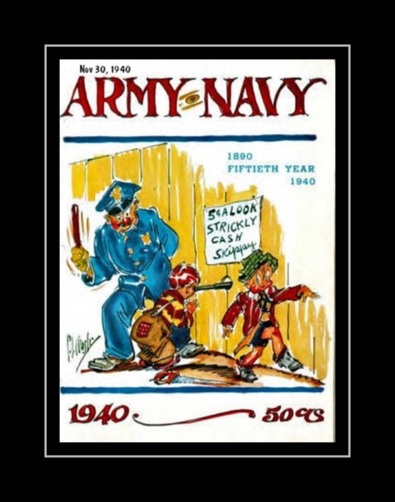 Vintage 1940s Army Navy Football Poster, Military Wall Decor, Sailor ...