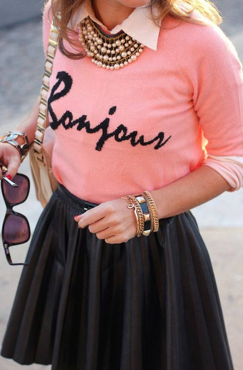 Bonjour Pink Sweater, Collared shirt, statement necklace, black leather skirt
