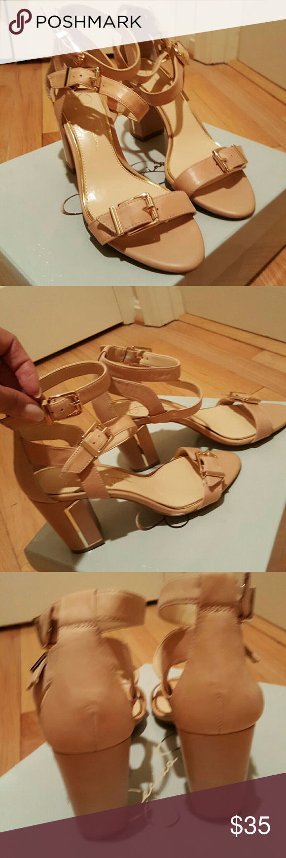 "High-heeled sandals 3-1/2"" light tan leather sandals, worn once!  Ladies my storage clean out is your gain! ???? Jessica Simpson Shoes Sandals"