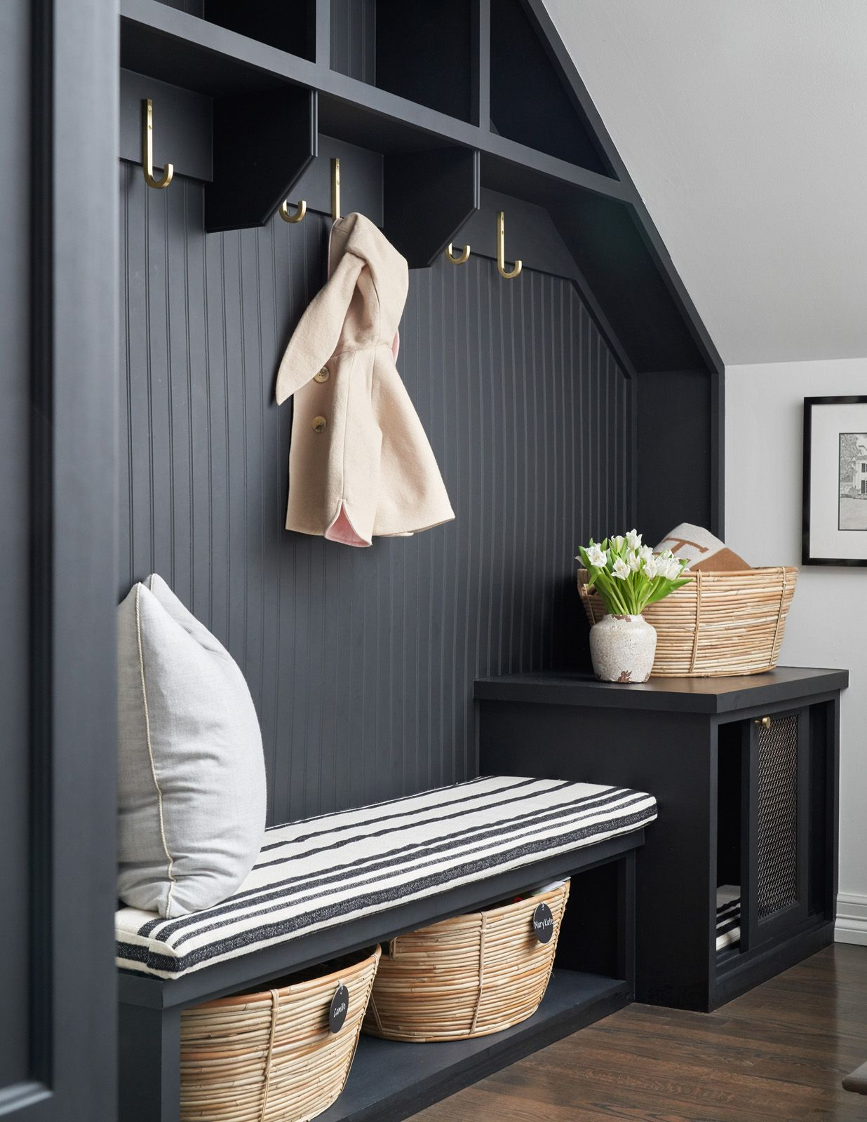 Black Shiplap Wall Black Mudroom Bench Under Bench Storage Basket Storage Light Pillow Black Cabinet Coat Hooks Decor Ship Lap Walls Home Decor