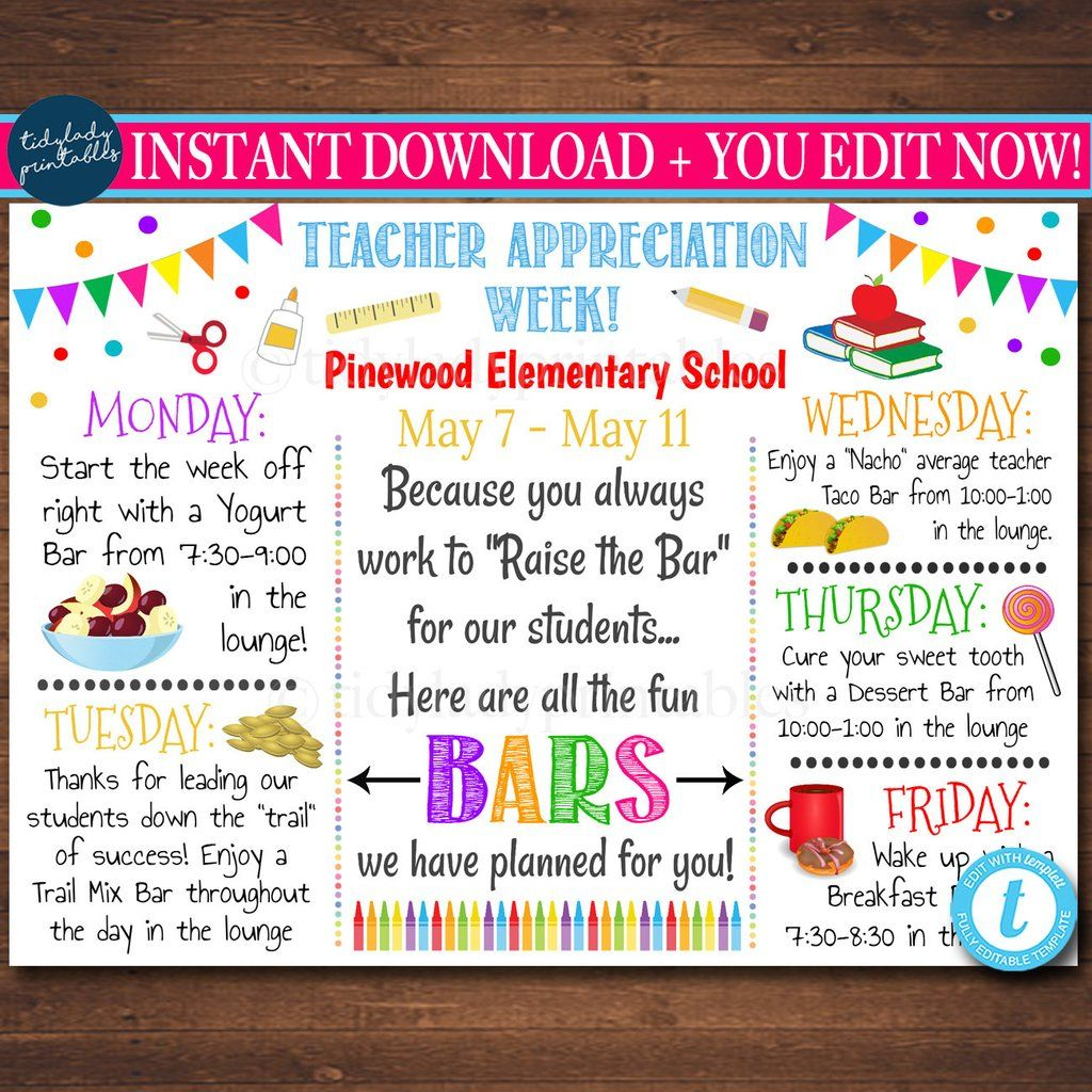 Editable Teacher Appreciation Week Itinerary Poster Digital File