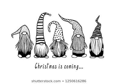Weihnachtskarte mit handgezeichnet skandinavischen Gnomen in Stock-Vektorgrafik (Lizenzfrei) 1250616286