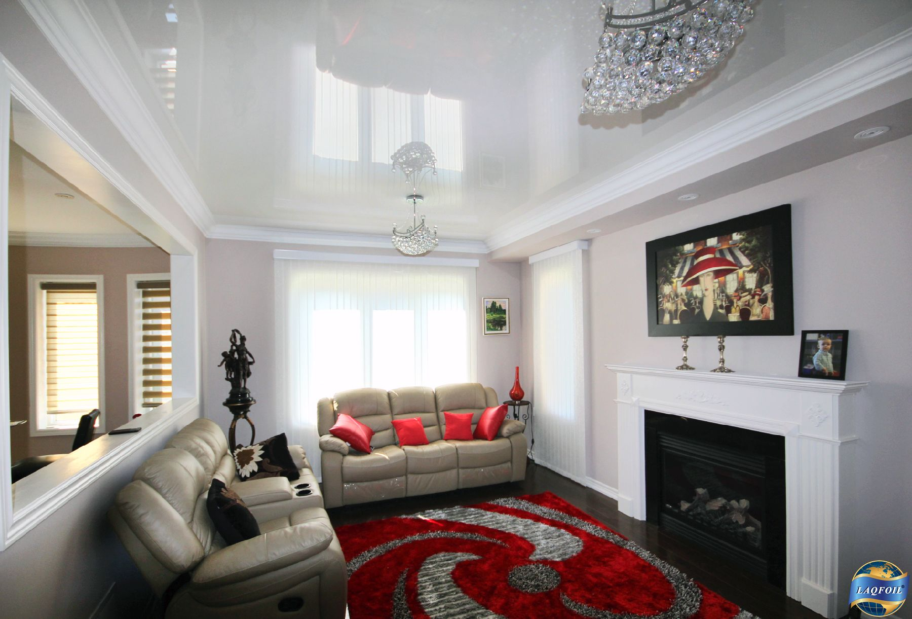 residential living room, july 2014. high gloss white stretch