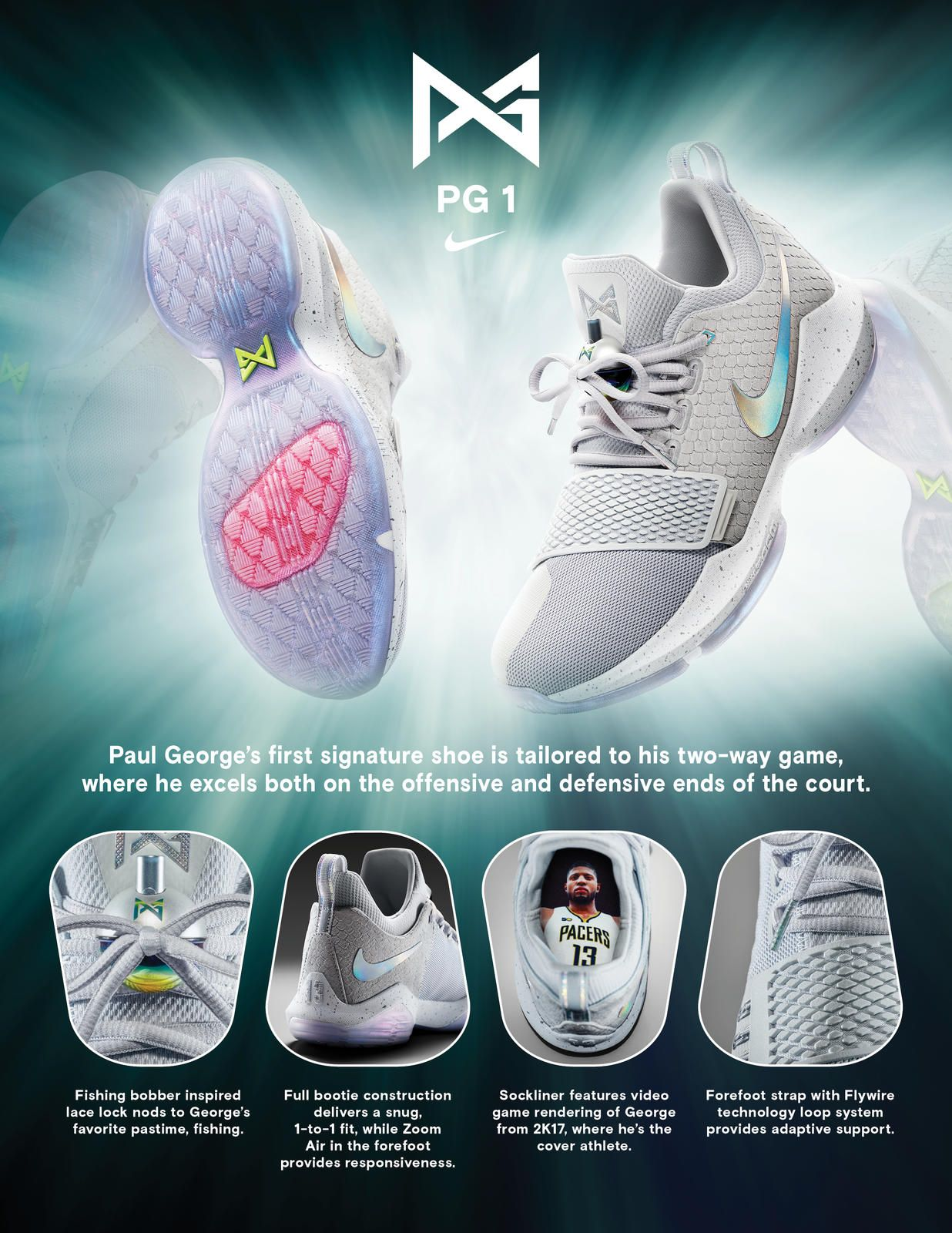 d223bee6d213 Nike News - PG1 Reflects Paul George s Versatility on Both Sides of the  Court