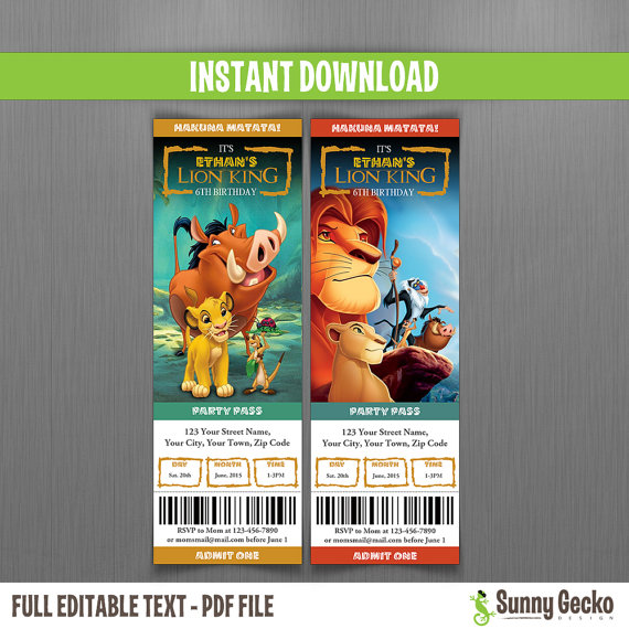 Disney The Lion King Birthday Ticket Invitations Instant Download