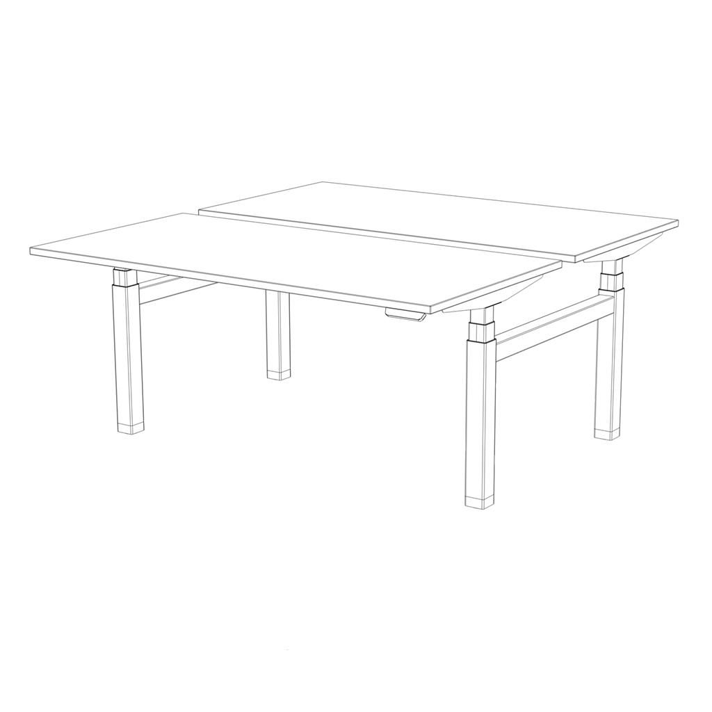 Photo of Workbench eModel 2.0 160 x 80/80 cm – Light Grey Concrete/White/White