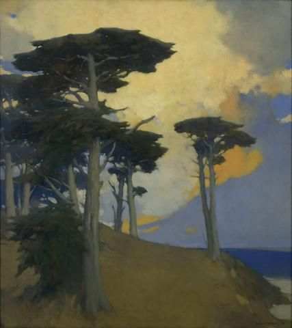 Arthur Mathews | Lucia Mathews Monterey Cypress 1933  oil on canvas 38.25 in HIGH x 34.25 in WIDE (A66.196.15 | OMCA COLLECTIONS)