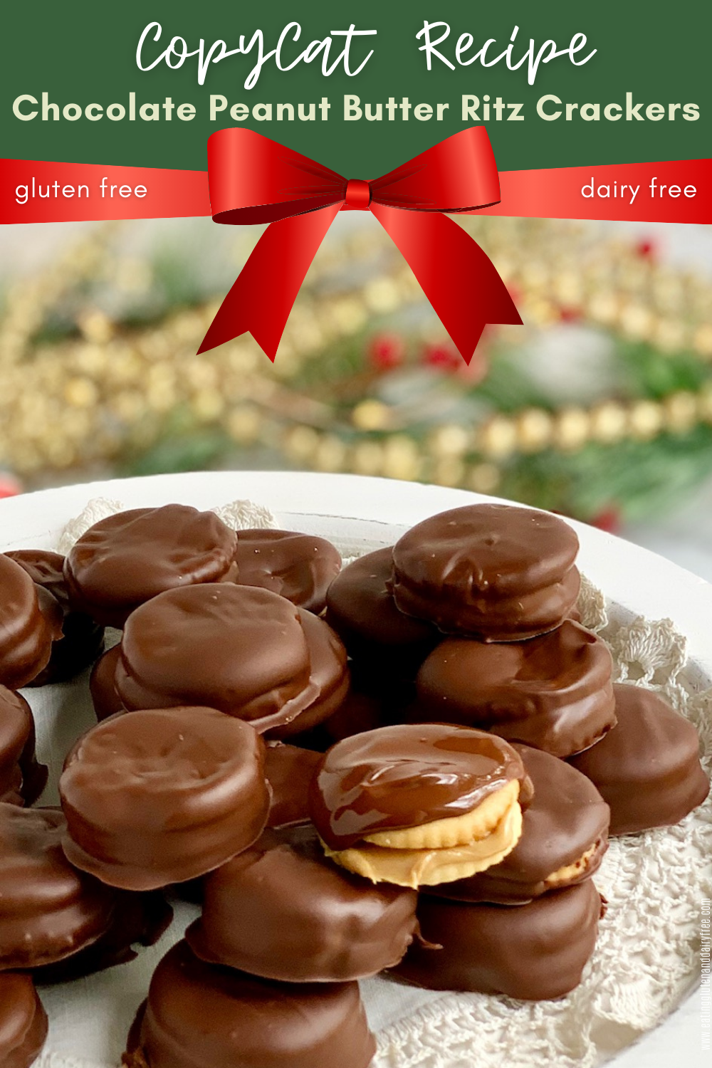 These no fuss Copycat Chocolate Peanut Butter Ritz Crackers are a must. Chocolate dipped crackers, stuffed with peanut butter are delicious. #glutenfree #dairyfree #eggfree #christmastreats