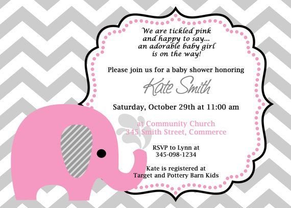Printable Pink Elephant Chevron Baby Shower Invitation Customized - baby shower flyer templates free
