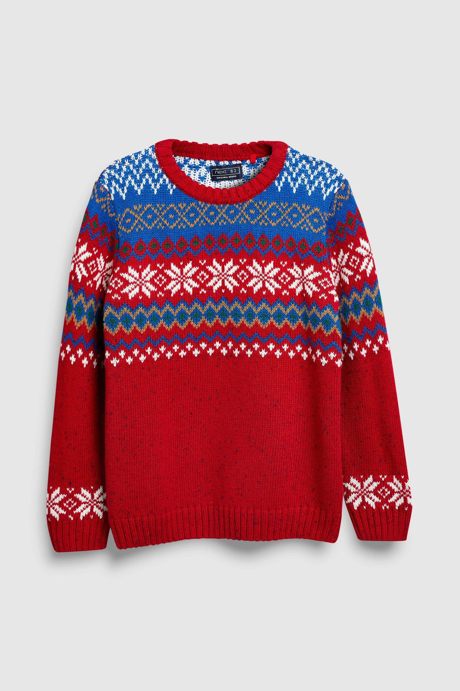 5840d5ccc70c Boys Next Red Fairisle Pattern Knitted Crew (3-16yrs) - Red ...