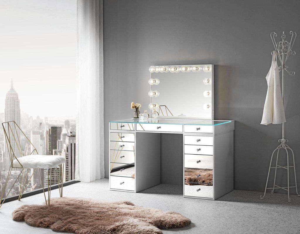 Mirrored Tabletop 5 Drawer Units