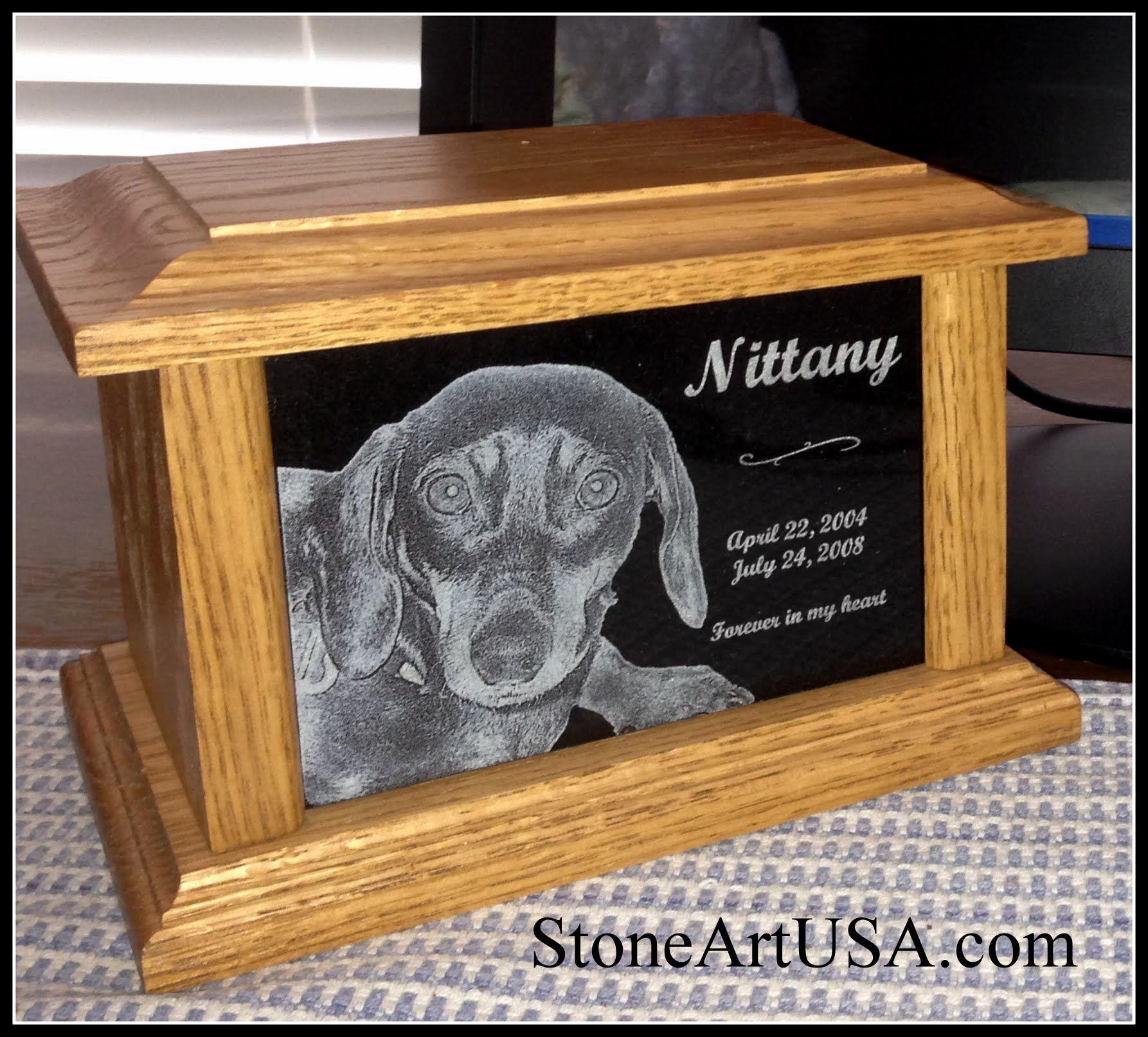 pet urn memorial by laser etched granite