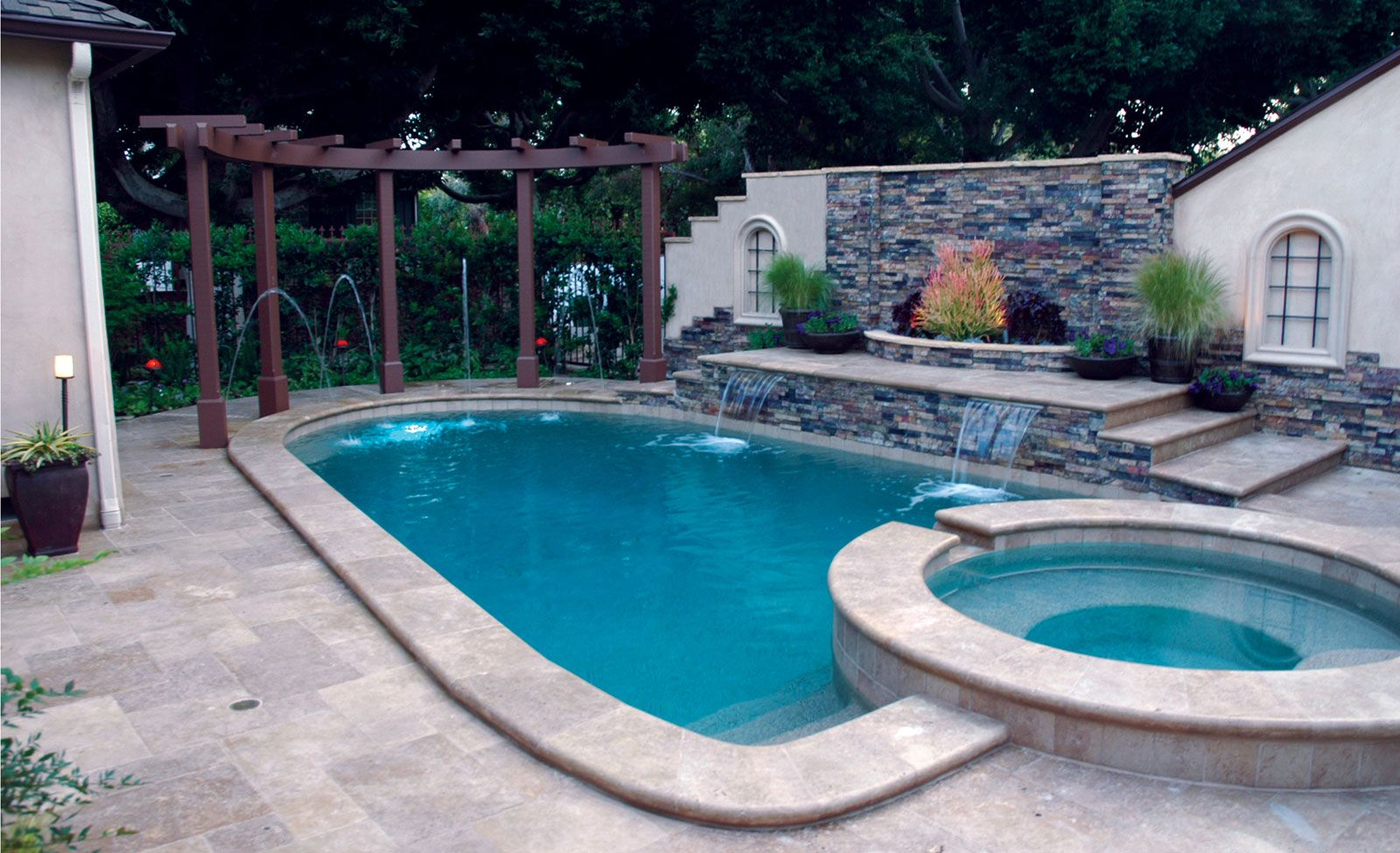Raised Bond Beam Deck Jets Shear Decents Spa Pool Remodel Trellis Pools Pools