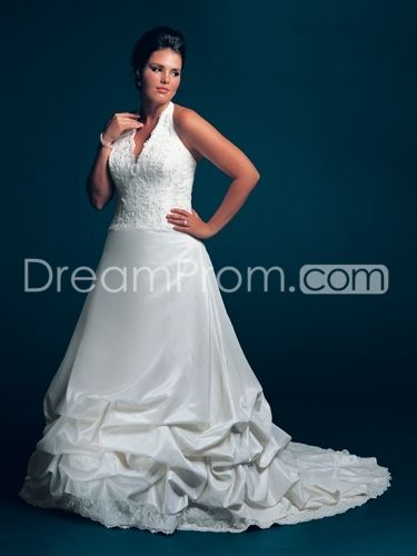 Fabulous A-line Halter Floor-length Ruched & Appliques Plus Size Wedding Dresses
