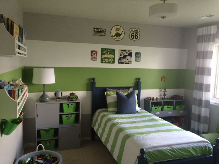 Boys gray & green transportation inspired bedroom in 2019 ...