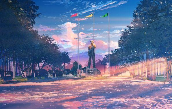 Photo Wallpaper Everlasting Summer Endless Summer Iichan Eroge Camp Monument Fonovye Risunki Risunki Pejzazhej Zhivopisnye Pejzazhi