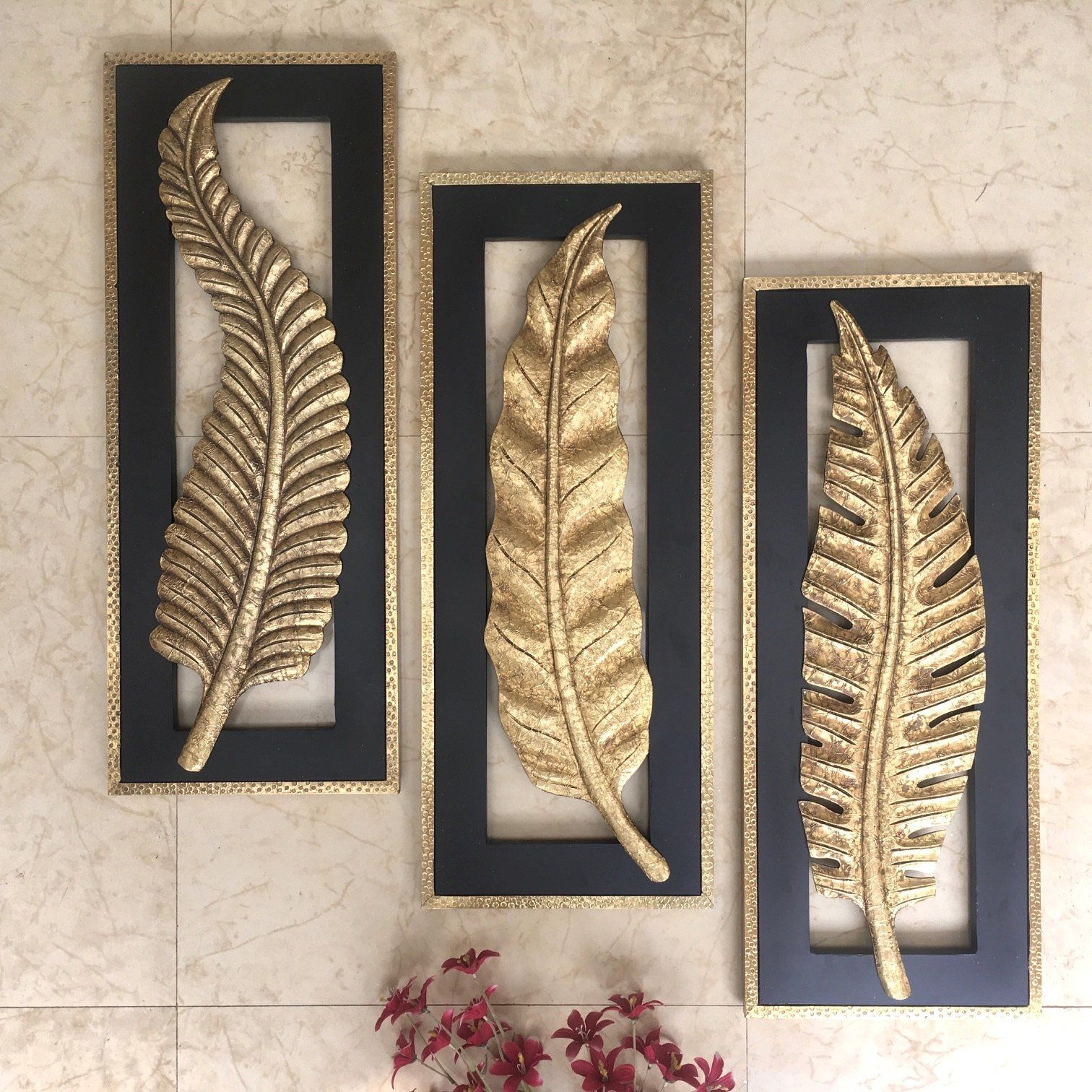"""Photo of 30"""" Brass Leaf Wall Hanging (Set of 3)"""
