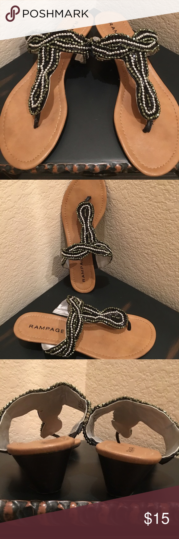 Flash Sale👠 Rampage Black Sequins and Beads Rampage Black Sequins and Beaded Sandals. Excellent Condition Rampage Shoes Sandals