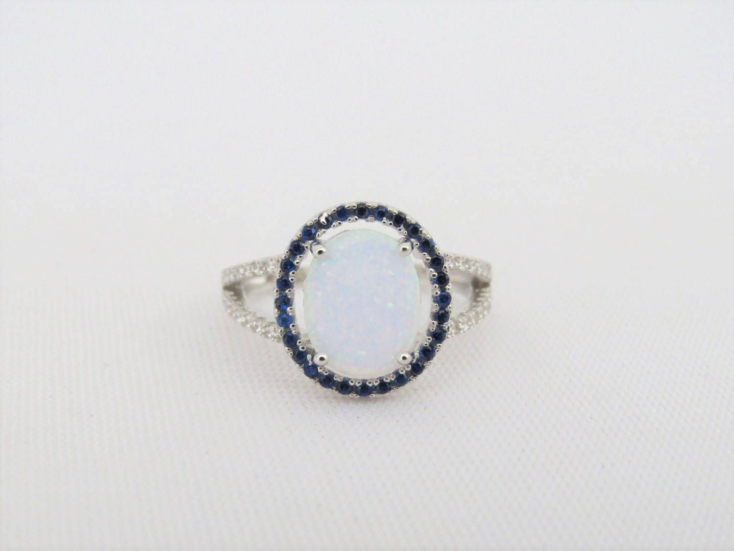 Vintage Sterling Silver White Opal, Blue Sapphire & White Topaz Halo Ring Size 7 by wandajewelry2013 on Etsy