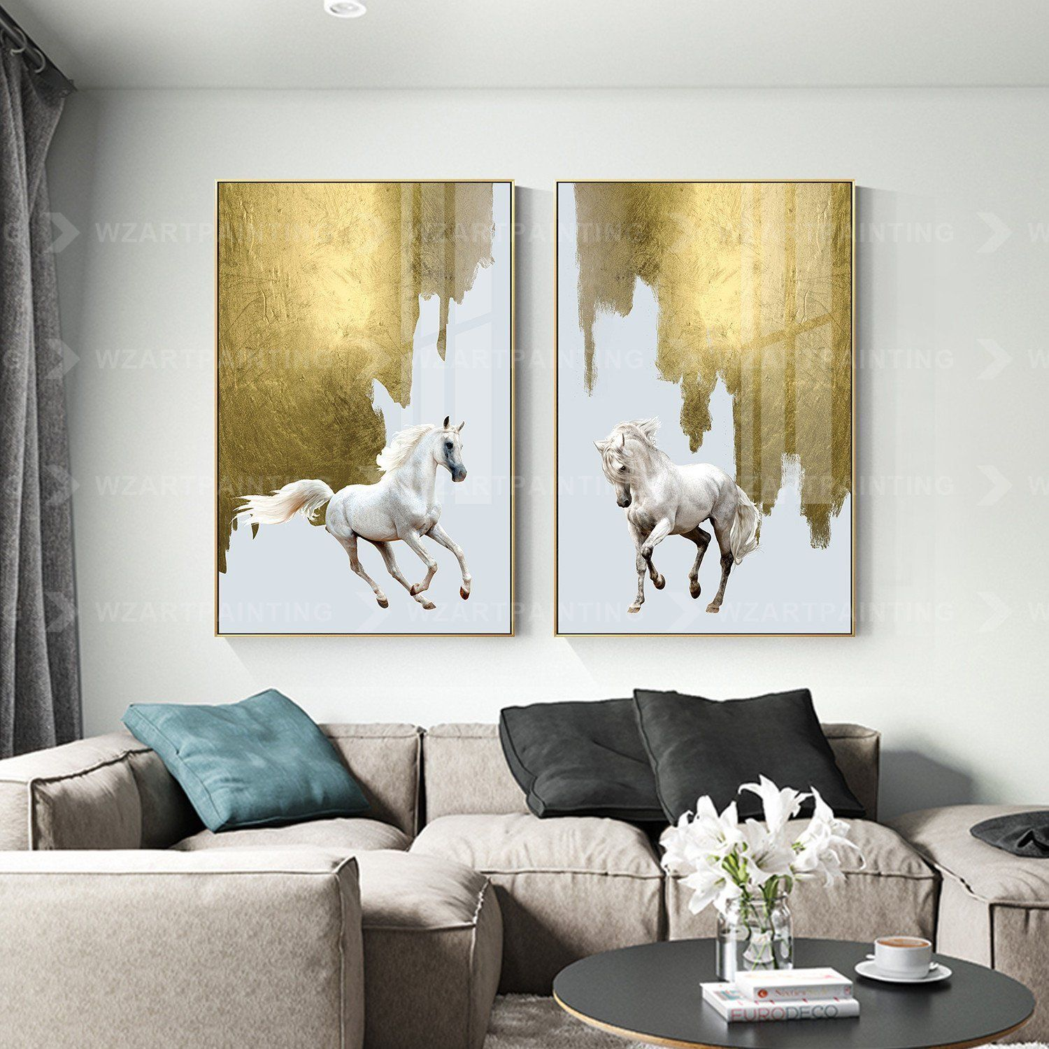 2 Pieces Gold Horse Animal Acrylic Wall Art Print Pictures On Etsy Acrylic Wall Art Wall Art Prints Canvas Painting