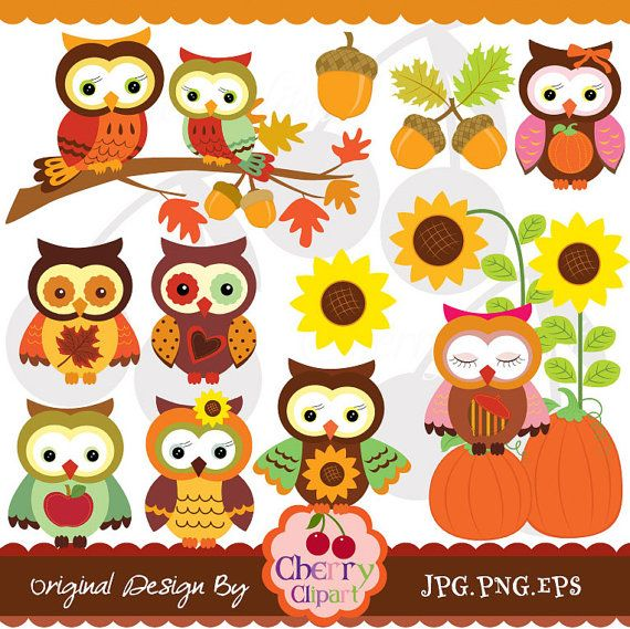 Autumn Owls Digital Clipart Set For Personal And Commercial Etsy In 2021 Paper Crafts Card Digital Clip Art Paper Crafts