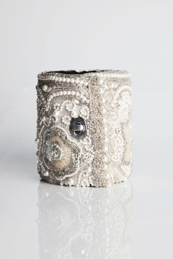 "Off White Hand Beaded Cuff Wallet - ""Queen Anne's Lace"" by CuffNGo on Etsy. #Accessories"