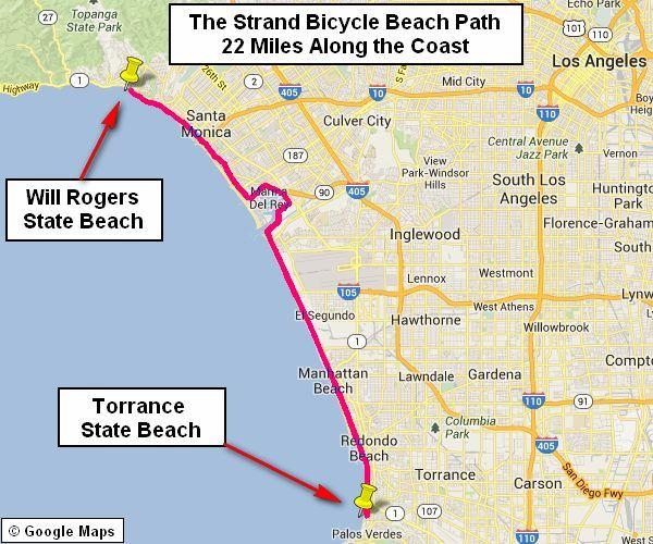 Santa Monica The Strand Beach Path Beach Bike Ride Beach Path Los Angeles Beaches