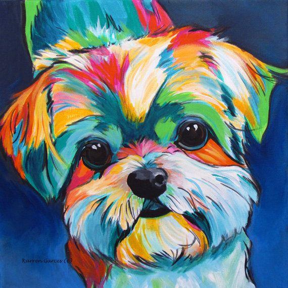Shih Tzu, Art, Dog Lovers, Gifts, Painting, Pet Portrait, Modern Dog, Pop Art…