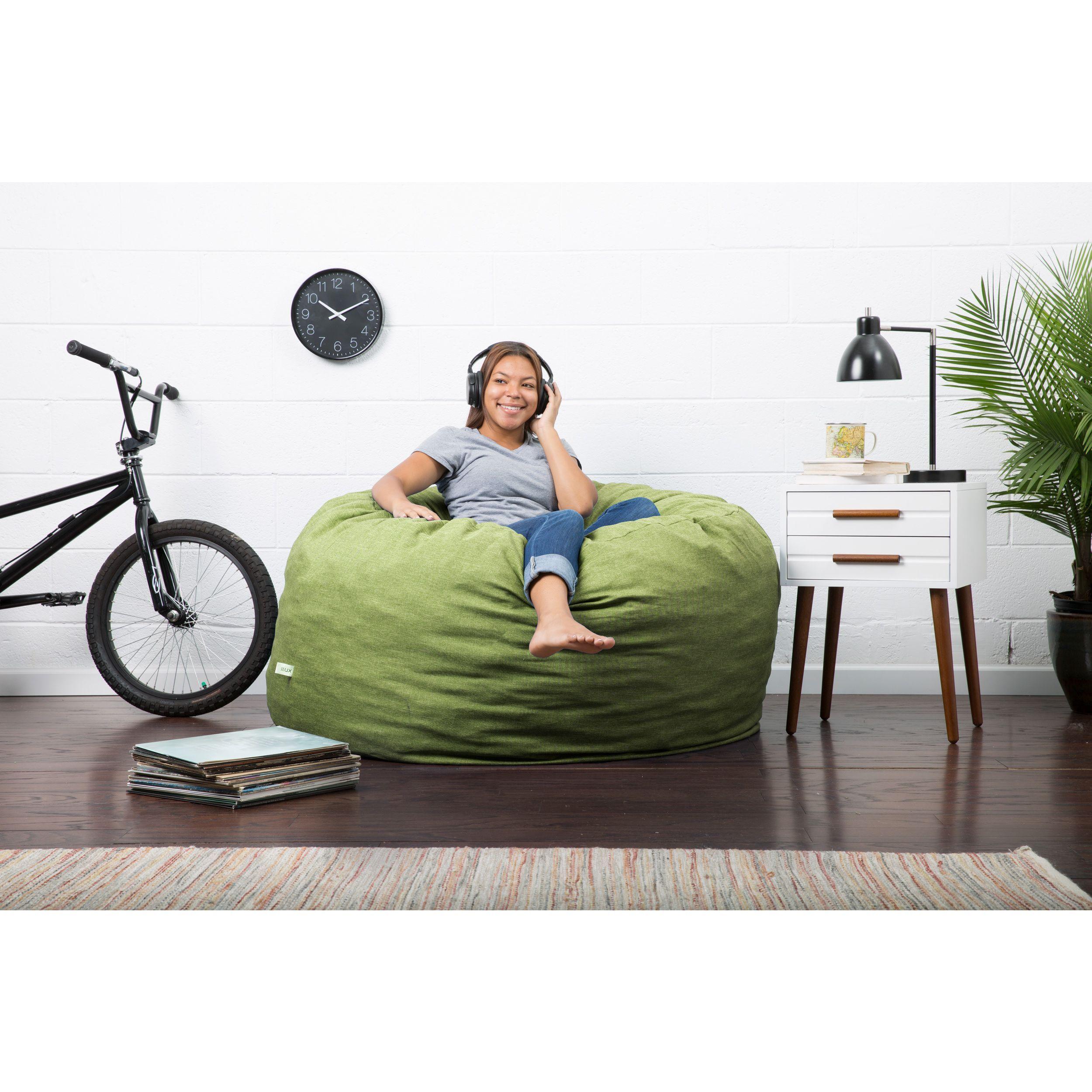 comfort research fufsack big joe lux linen and memory foam large bean bag chair kiwi - Large Bean Bags