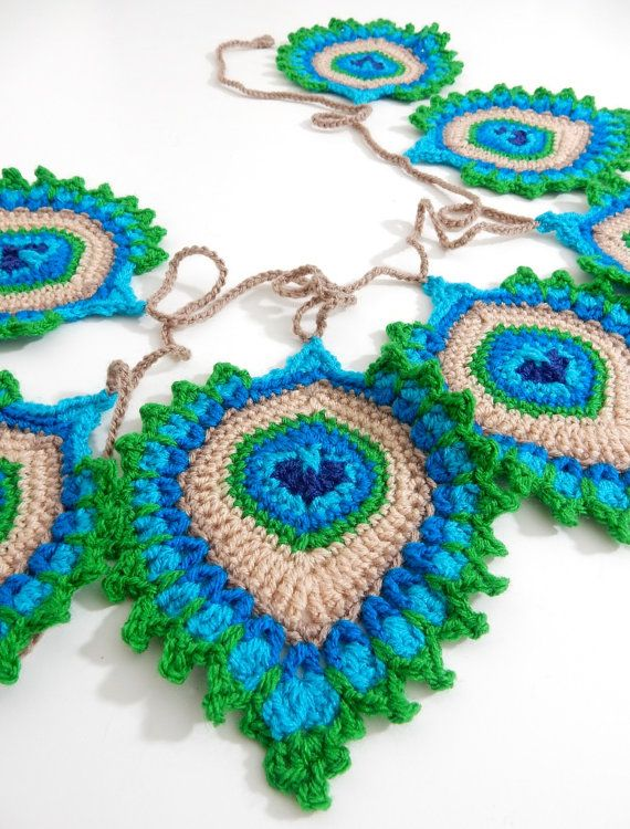 Crochet PATTERN Peacock Feather Nemali Motif Coaster And Garland