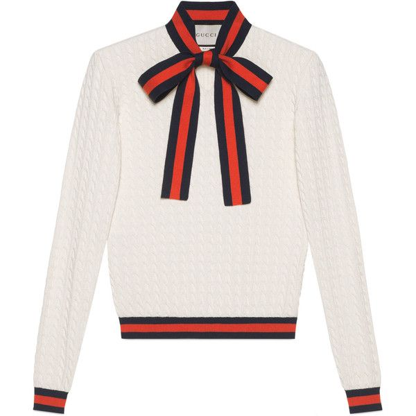 6d91dd3b7 Gucci Knit Top With Web ($935) ❤ liked on Polyvore featuring tops,  ready-to-wear, women, gucci top, white knit top, knit top, gucci and white  tops
