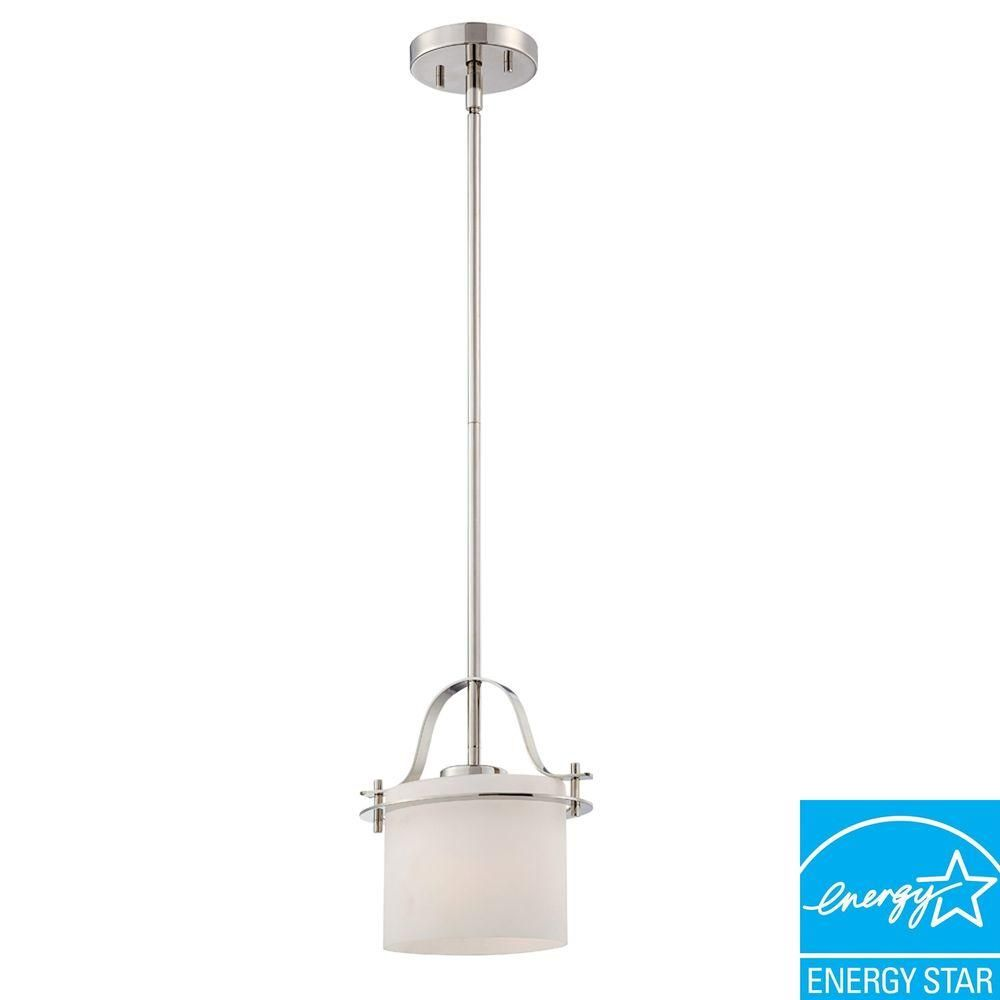 Illumine 1 Light Polished Nickel Mini Pendant With Oval Frosted Glass Shade