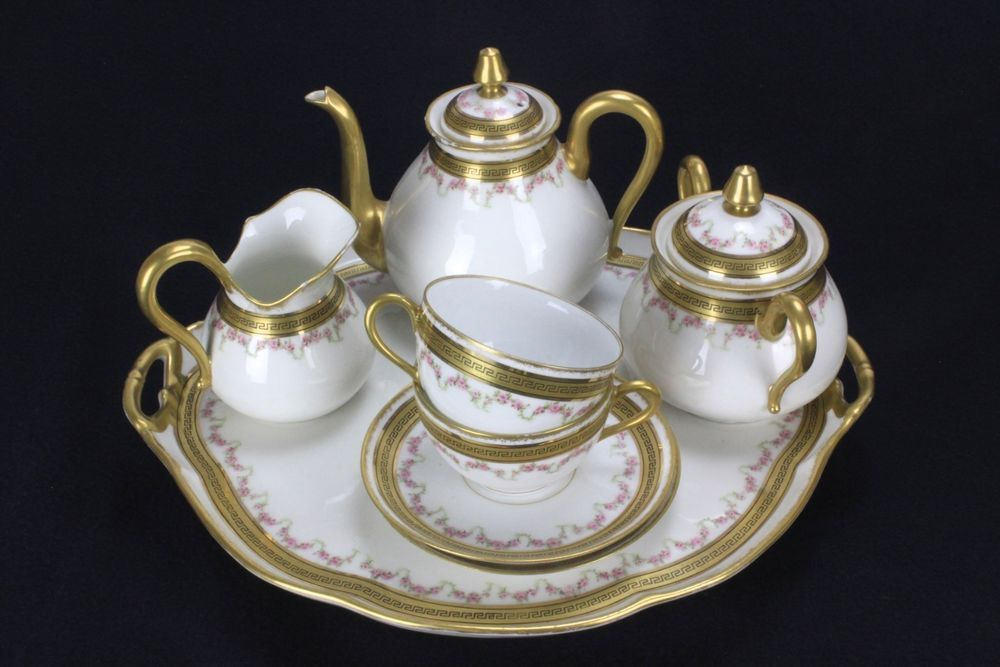 Vintage Limoges Porcelain Levi Strauss U0026 Sons Tea Set Tray, 2 Cups And  Saucers #