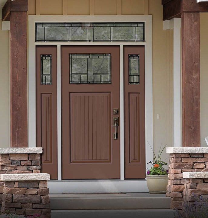 Classic Craft Canvas Collection Fiberglass Door Painted Aurora Brown With  Homeward Decorative Glass