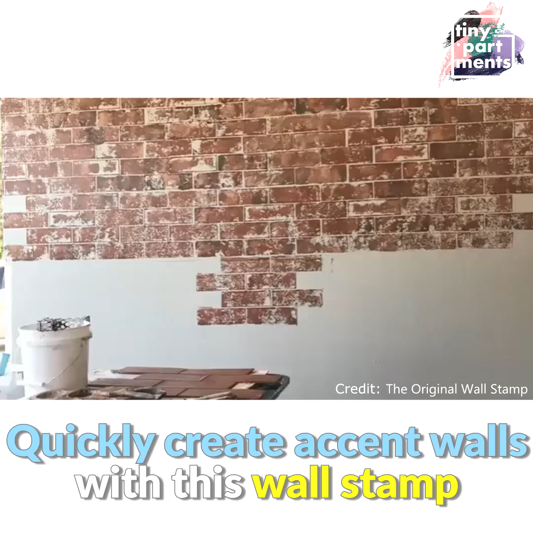 If you're looking for other DIY accent wall ideas, try these stamps. The name should be enough to explain the process – you cover the reusable stamp with paint and apply it to the wall. Voilà, you've got yourself the beginnings of a gorgeous accent wall. You can also get a stencil that mimics a brick wall. Usually, you'd need to strip your walls bare or get decals for a look like this. But these stamps seem to have done a great job. #homedecor #diy #accentwalls #walls #wallpaint