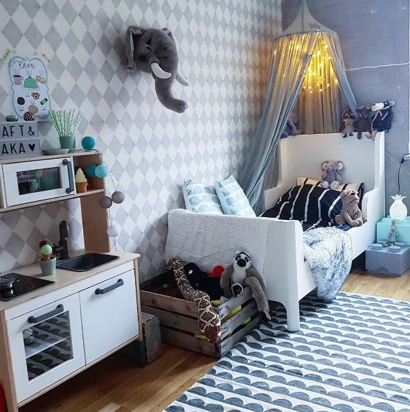 Habitaci n infantil en tonos azules original y moderna for Habitacion infantil original