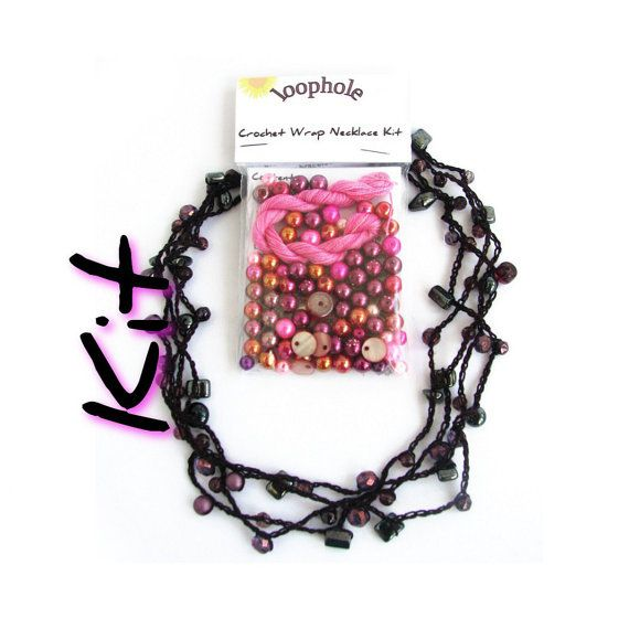 DIY craft kit crochet necklace kit jewelry kit beads by SixSkeins