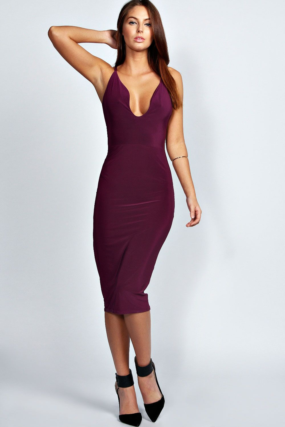 765fc8fac483 Lucy Plunge Neck Slinky Midi Bodycon Dress at boohoo.com