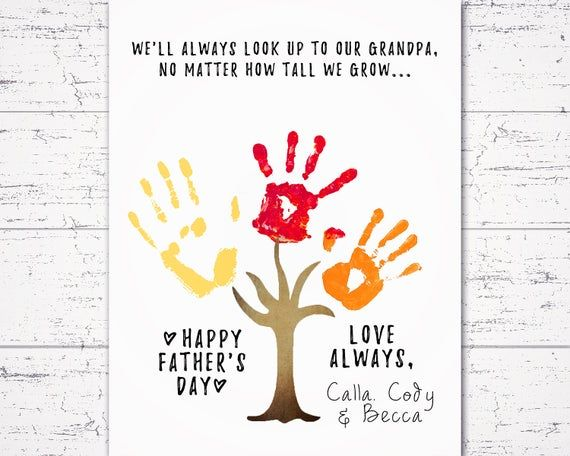 Fathers Day Gift for Grandpa from Grandkids, Handprint Keepsake, Personalized Grandpa Birthday Present, Isolation Craft Ideas for Kids