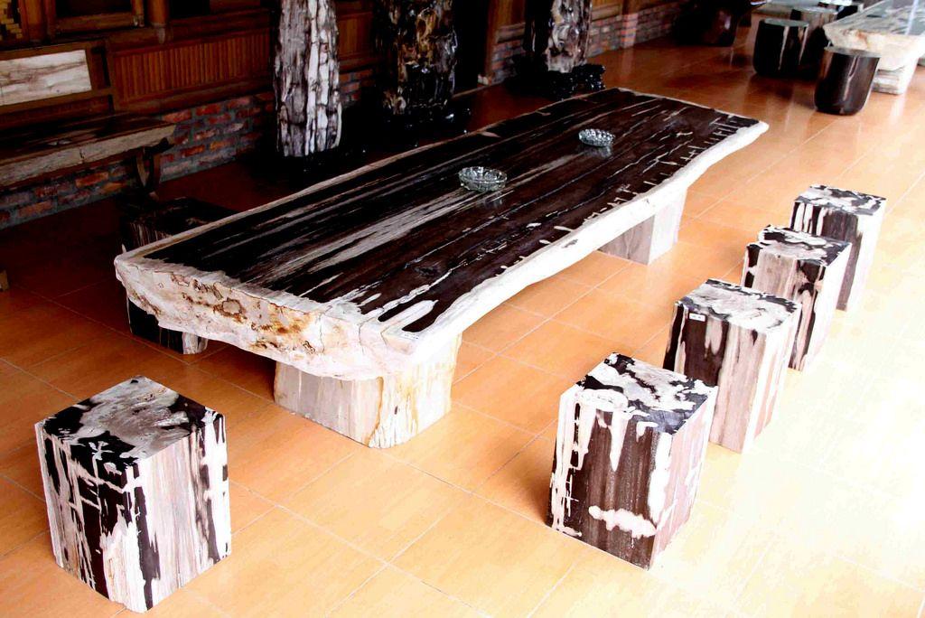IndoGemstone Petrified Wood Dining Table.  IndoGemstone has the largest collection of interior design and decorating with petrified wood ideas.