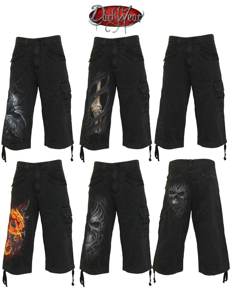 Spiral Direct VINTAGE CARGO SHORTS 3//4 LONG BLACK//Skull//Skeleton//Dragon//Goth