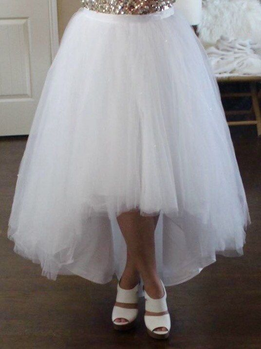 Clear beaded hilo ballgown skirt / high low skirt / ballgown tulle ...
