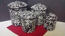 NEW CGS Splatter Enamelware Canister Set, Black & White NOS Vintage Primitive