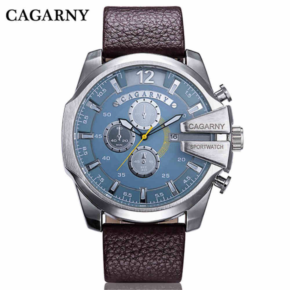 Cagarny top brand man watches design electronic leather belts men