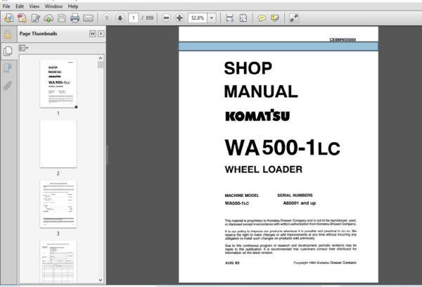 Komatsu Wa500 1lc Wheel Loader Shop Manual Cebmw25050 Pdf Download Komatsu Manual Pressure Control Valve