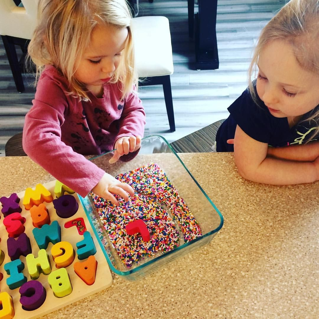 Sprinkle letter writing Grab and alphabet puzzle and some