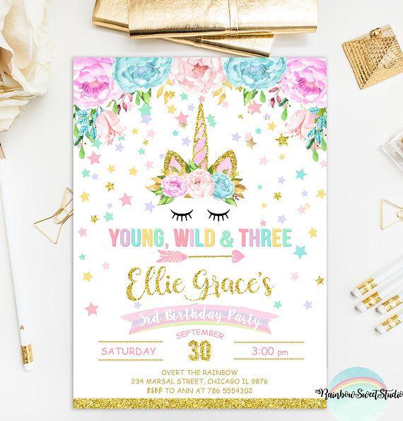 unicorn young wild and three invitation unicorn birthday party