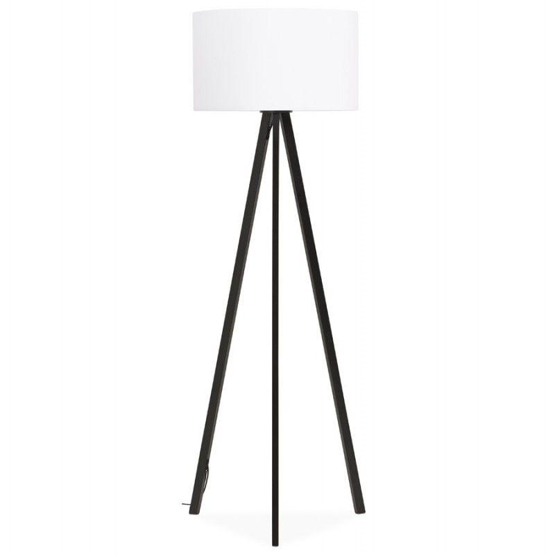 Lampe sur pied de style scandinave TRANI en tissu blanc noir Son