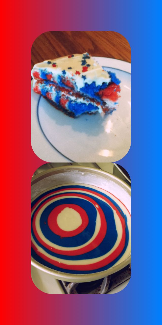 4th of July cake:) white cake/red and blue dye. Separate into 3 bowls and pour 1 at a time