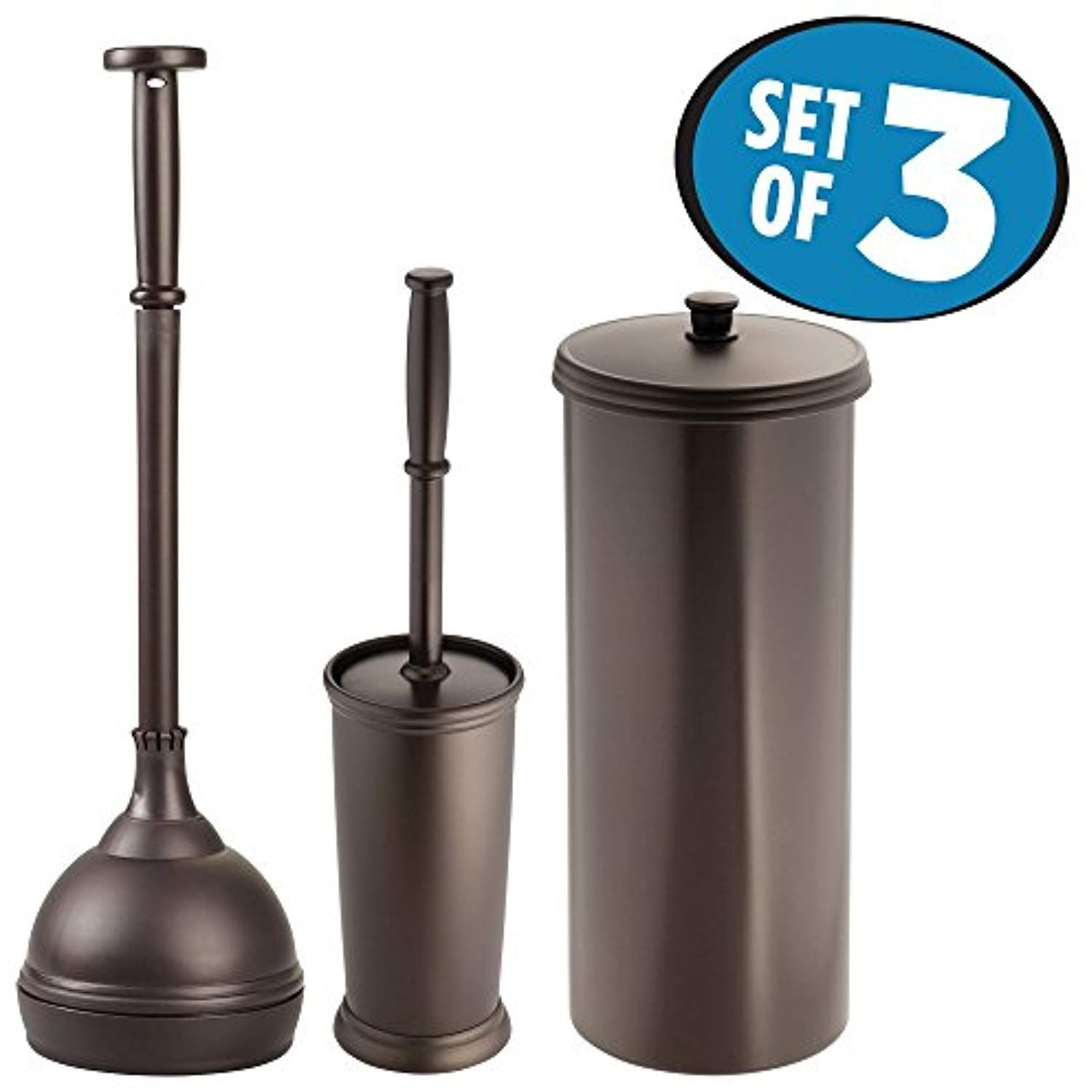 Mdesign Plunger Bowl Brush Toilet Paper Roll Canister And Toilet Brush Bathroom Accessory Set Pack Of 3 Bro Canister Sets Plunger Bathroom Accessories Sets